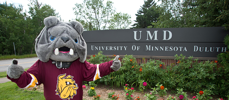 Champ bulldog mascot standing in front of UMD sign outdoors
