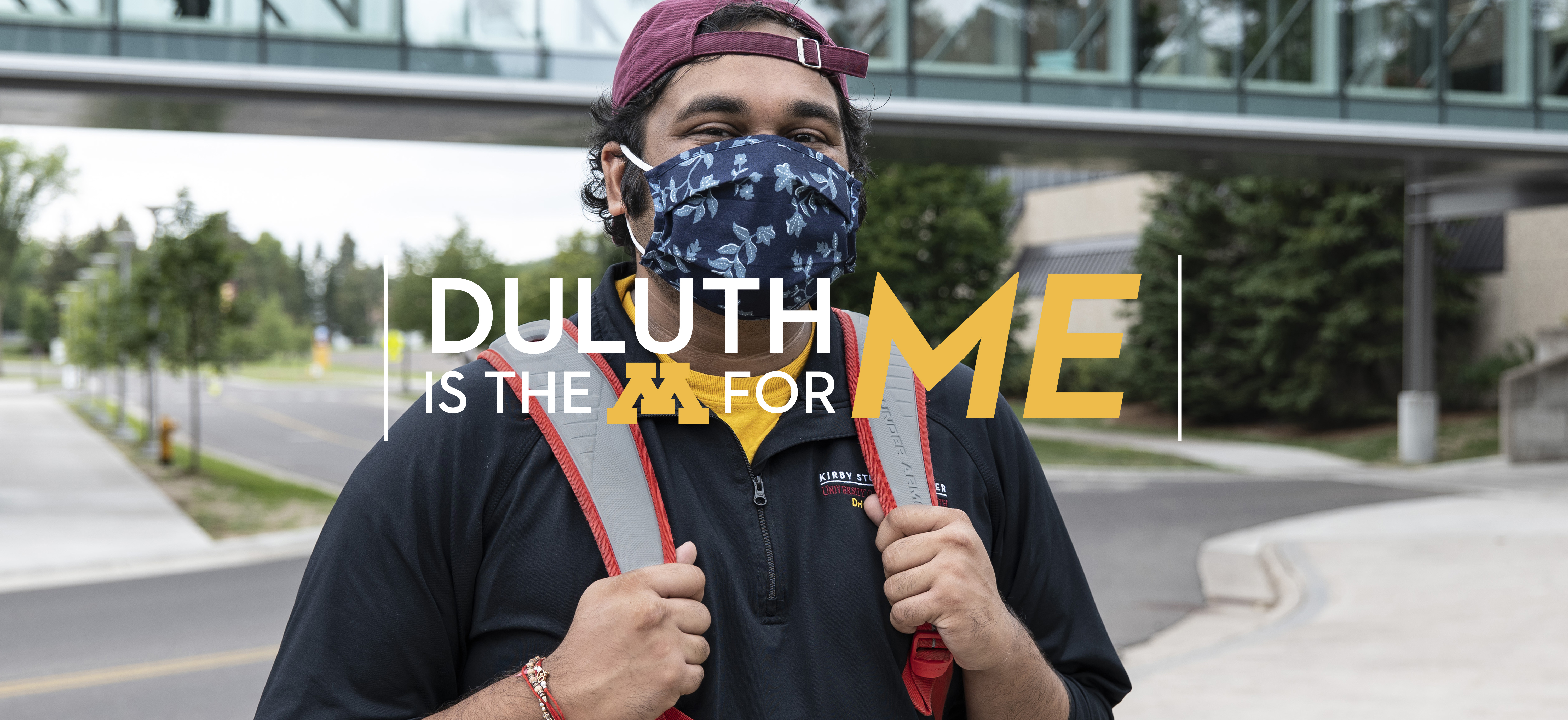 Student wearing mask on the UMD campus